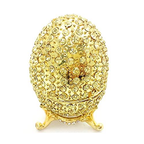 Caja de joyería de aleación pintada a mano con esmalte y diamantes Muebles para el hogar Estilo europeo Huevos de Pascua Joyería, Collar, Organizador de anillos-default
