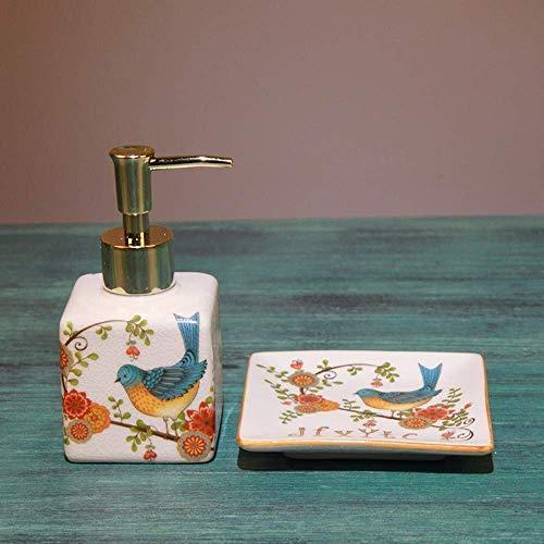 ZLXLX Lotion fles vloeibare zeepbak, 2 stuks keramiek Oriental Original Vintage zeepdispenser, handbeschilderde Elster vogel snelle extrusie navulbare handdesinfectiefles