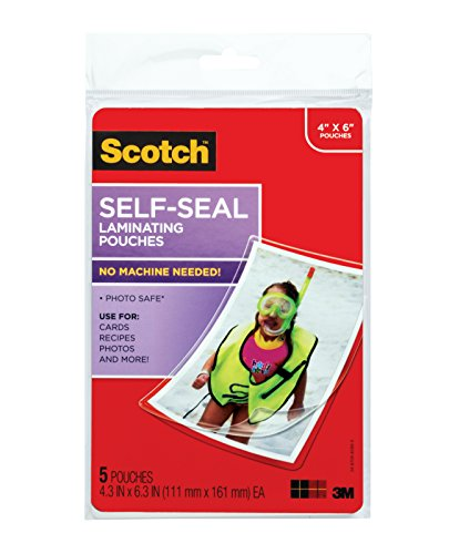 Scotch SelfSealing Laminating Pouches Glossy Finish 4 3/8 x 6 3/8 Inches 5 Pouches PL900G
