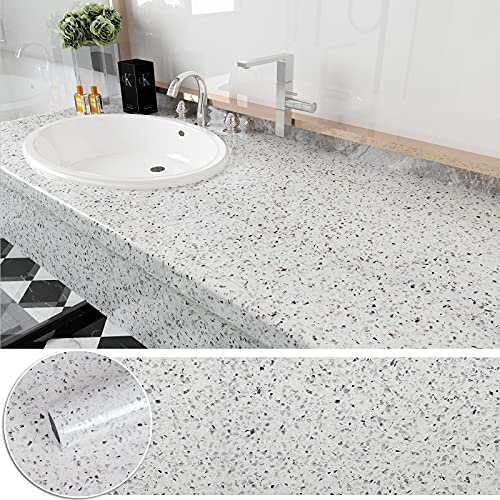 CHICHOME 236 X 30 Inch White Granite Contact Paper for Countertops Peel and...