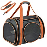 OKMEE Dog Carrier with Ventilation for Small Medium Cats Dogs Puppies. TSA Airline Approved Cat Carrier with Big Space, 5 Mesh Windows, 4 Open Doors for Comfortable Travelling.