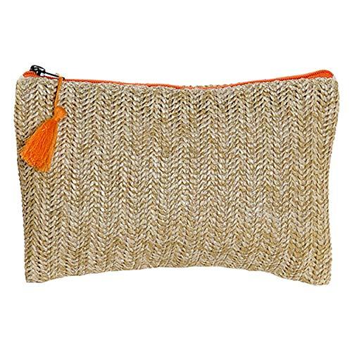 Hogar y Mas Neceser Trenzado Cierre de Cremallera y Pompon, Diseño Balinés realizado en Poliéster 25x16 cm - Naranja