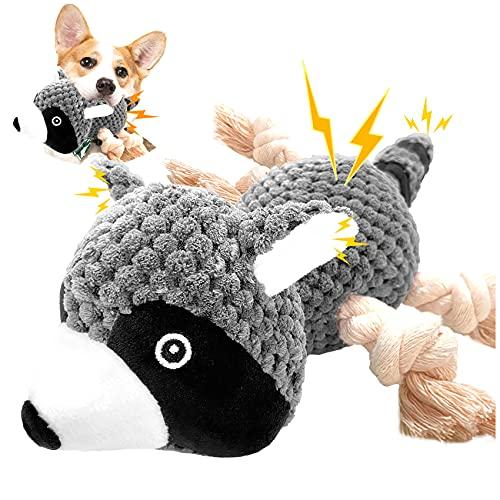 Peluche per Cani Indistruttibile con Squeak Giochi per Cani Interattivi Masticabili per Cuccioli Media Distributore Cibo Giochi Cane Resistenti (Procione)