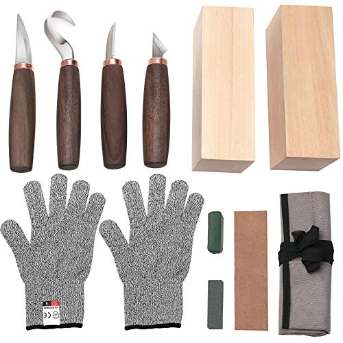 Wood Carving Tools Set of 11- Includes Black Walnut Handle Wood Carving Knife,Whittling Knife,Hook Knife,Polishing Compound,Sharpening Stone,Cut Resistant Gloves,Wood Carving Kit for Beginners.