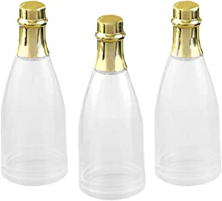 100 Plain Champagne Bottle Acrylic Containers w/ Gold Foil Top