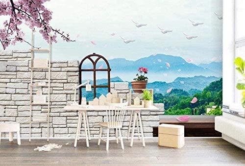Papel pintado de paisaje de tinta de campo Papel pintado no tejido Mural de efecto 3D Pared Pintado Papel tapiz 3D Decoración dormitorio Fotomural sala sofá mural-430cm×300cm