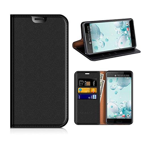 MOBESV HTC U Ultra Hülle Leder, HTC U Ultra Tasche Lederhülle/Wallet Hülle/Ledertasche Handyhülle/Schutzhülle mit Kartenfach für HTC U Ultra - Schwarz