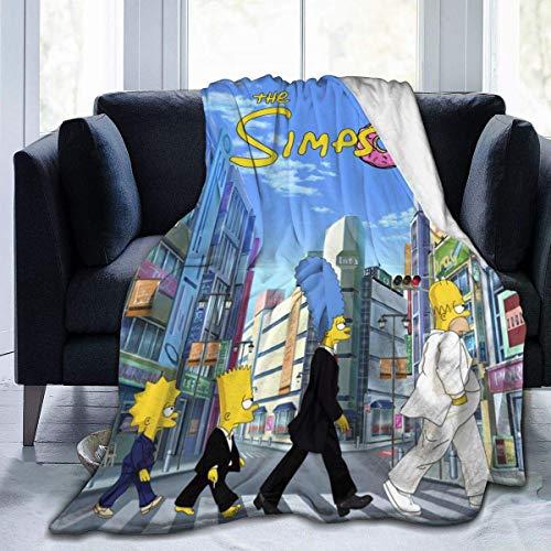 YYFF Manta de franela ultra suave Simpson grande impresión 3D dormitorio sala de estar manta decoración del hogar para cama, sofá, silla de viaje para adultos y niños 127 x 152 cm