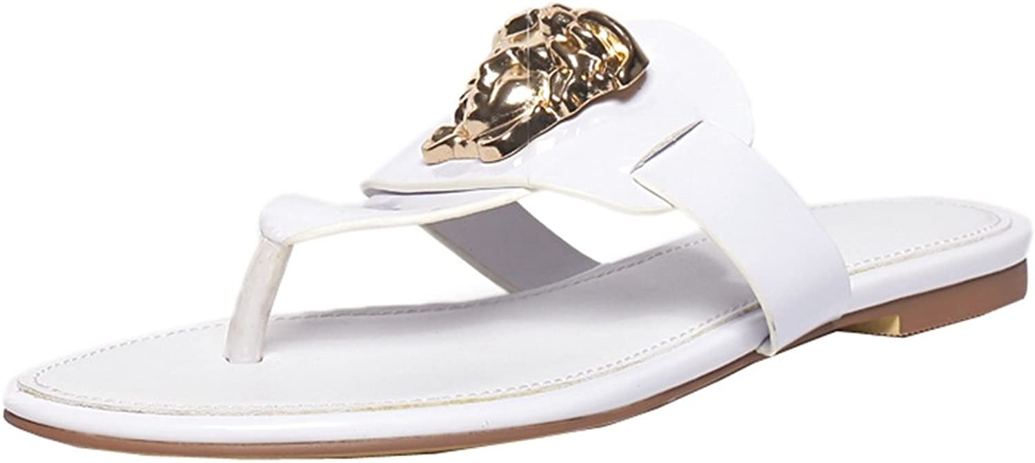 TDA Women's Hot Summer Metal Heads Patent Leather Flat Thong Slippers Flip-Flop Sandals