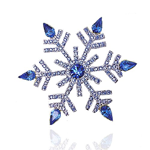 Klaritta Luxury Silver & Royal Dark Blue Frozen Snowflake Brooch Pin BR295