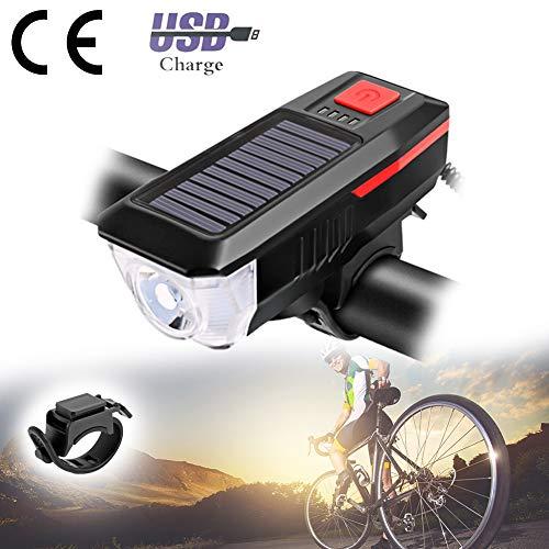 USB Solar Cycling-koplampen met hoorn, waterdicht fietslicht Oplaadbaar, multifunctioneel, afneembaar, gemakkelijk te monteren voor fietsen, veiligheid, mountainbike, nachtrit,Red