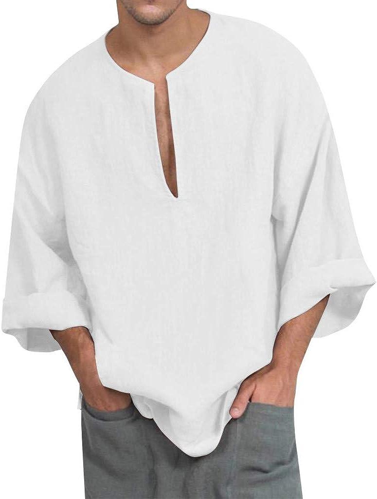 WUAI-Men Loose Linen Henley Shirts Casual Long Sleeve V Neck Tunic Tops Basic Tee