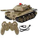 Remote Control Tank, Electric RC Tank for Kids, 1:16 2.4GHz RC Battle Tank Remote Control Vehicle Military Army Tank Toy for Kids & Adults USB Rechargable & Waterproof(Green)