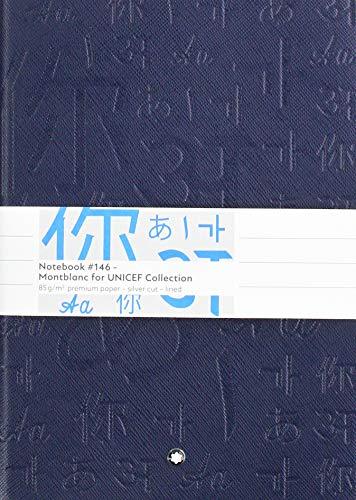 Montblanc, taccuino di formato A5, con copertina morbida di pelle, collezione Fine Stationery Lined (a righe) Unicef Blau