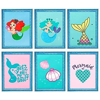 WATINC 6Pcs Mermaid Nursery Wall Decor, Mermaid Watercolor Art Prints Set for Nursery Decor Art, Baby Room Decor, Nursery Wall Decals for Kids Bedroom, Unframed Nursery Wall Art Poster for Boys Girls