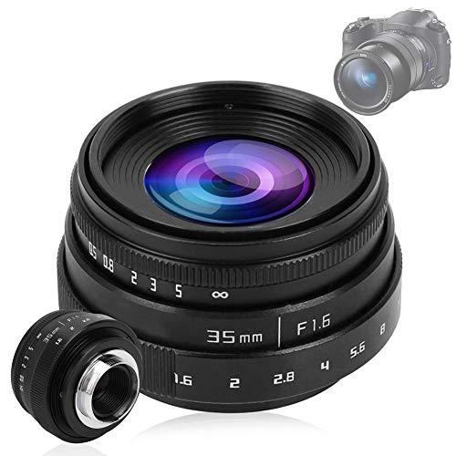 Pomya Lente de Apertura Grande, Lente de cámara Digital Manual 35mm F1.6 CCTV C Montaje Gran Lente de Apertura para Sony NEX M4/3 FX(Black)