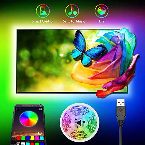 Tiras LED TV, Tira LED USB RGB 3M con APP, 16 Millones DIY Colores 5050 SMD, Retroiluminacion Luces LED de TV con para 40-60in HDTV/PC Monitor