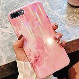 QPOLLY Coque Compatible avec iPhone 7 Plus/8 Plus Marbre, Brillante Bling Marbre Motifs Ultra Mince Souple TPU Silicone Gel Bumper Case Cover Housse Etui de Protection Anti-Choc Coque,Rose