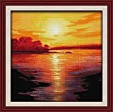 Maydear Cross Stitch Kits Stamped Full Range of Embroidery Starter Kits for Beginners DIY 11CT 3 Strands - Sea...