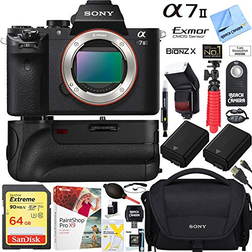 Sony a7 II 24.3MP Full-Frame Mirrorless Interchangeable Lens Camera Body + 64GB Battery Grip Memory Super Bundle