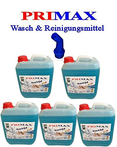 5 x 5 Liter Primax Flüssigwaschmittel blau Waschmittel + Ausgießer und Tuch gratis