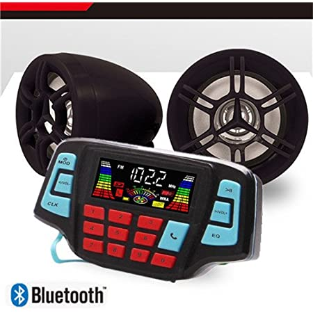 ATV Bluetooth Amplifier Sound System Hand-Free Speakers FM USB Audio System Stereo 3 Inch Speakers 12V Motorcycle Waterproof Audio for iPhone/iPod/MP3 (Black Speaker)