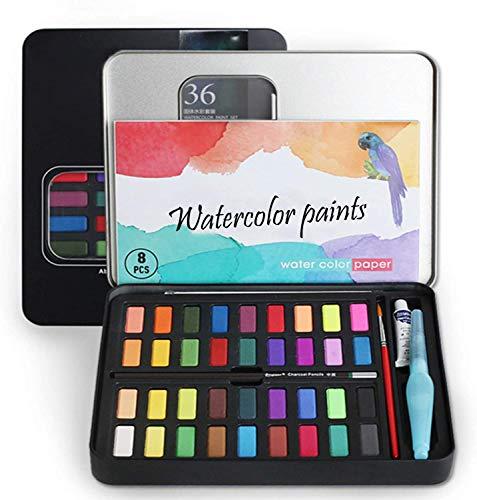 Caja de Acuarelas 50 PCS, Pigmento Sólido Set,Set de pintura de acuarelas incluye 36 colores pigmento sólido + 8 papeles acuarela+1 pinceles para tanque de agua+1 Pintura de acuarela blanca ect