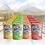 Happy Cat Variation Nassfutter - All Meat ohne Sauce nur Fleisch 24 x 85 g - je 6 Stück Kalb & Lamm, Huhn & Ente, Truthahn & Seelachs, Rind &...