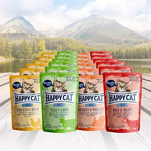 Happy Cat Variation Nassfutter - All Meat ohne Sauce nur Fleisch 24 x 85 g - je 6 Stück Kalb & Lamm, Huhn & Ente, Truthahn & Seelachs, Rind & Herz