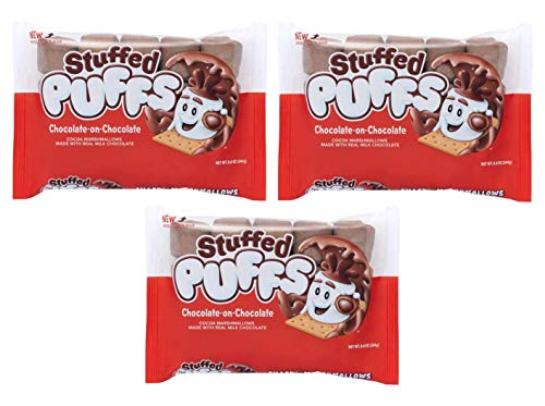 Stuffed Puffs - Chocolate-on-Chocolate 3 Pack, Chocolate Filled Cocoa Marshmallows Made with Real Chocolate, Perfect for Hot Cocoa and Snacking, 3 Bags (8.6oz each)