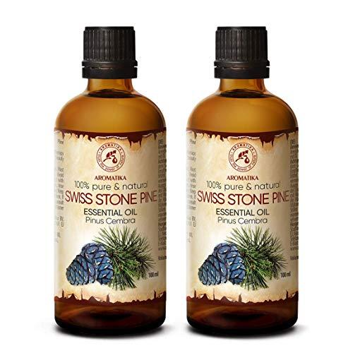 Aceite Esencial de Pino Suizo 200ml - Pinus Cembra - Suiza - 100% Natural & Puro 2x100ml - Mejor para Belleza - Salud - Cabello - Cara - Cuerpo