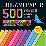 """Origami Paper 500 sheets Rainbow Colors 6"""" (15 cm): Tuttle Origami Paper: High-Quality Double-Sided Origami Sheets Printed with 12 Color Combinations (Instructions for 5 Projects Included)"""