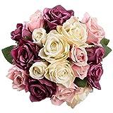Famibay Flores Artificiales Rosas de Seda 2 Piezas de...
