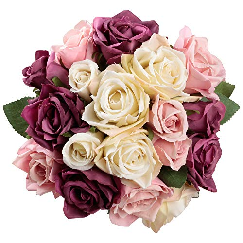 Famibay Flores Artificiales Rosas de Seda 2 Piezas de Rosas Ramo de Novia para Centro de Mesa Decoración