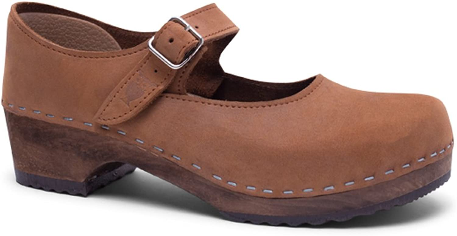 Sandgrens Swedish Low Heel Wooden Clogs for Women with Leather Upper   Mary Jane