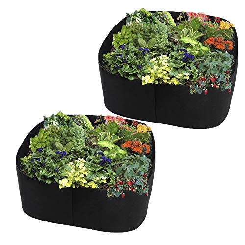 LWAN3 2pcs Fabric Raised Planting Bed, 40cm High Rectangle Plants Grow Bag, Breathable Garden Bed Fabric Planter Pot for Vegetable Herb Flowers