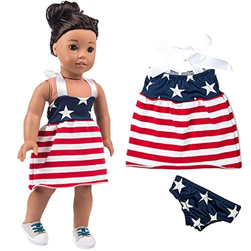 FunPa Vestido de muñeca a rayas decorativo casual moderno impreso muñeca ropa muñeca traje para muñecas de 18 pulgadas decoración juego