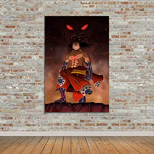 (Geen frame) 60x80CM Wall Art Poster HD Prints modulaire foto's een stuk Fanart Monkey D Luffy Wano Canvas schilderij Japanse Anime Home Decoration
