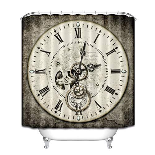 Reloj Retro Steampunk Cortina de Ducha de baño,poliéster Impermeable y de Secado rápido,patrón de Alta definición,12ganchos,180X180cm,decoración del hogar