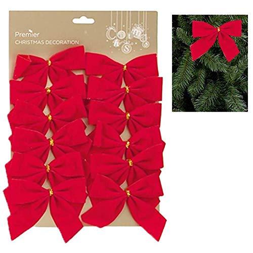 Widdle Wonderland 12 Pack 12cm Red Velvet Bows Christmas Tree Decoration 6732