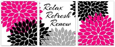 Amazon Com Wall Art Boutique Relax Refresh Renew Hot Pink And Black Bathroom Decor Bath99 Posters Prints