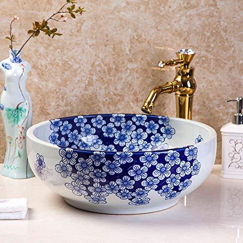 DWSS Lavabo de cerámica Encimera de porcelana azul y blanca, lavabo de cerámica, lavabo de baño, lavabo de cerámica para flores, arte