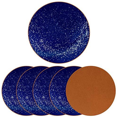 Juego de 6 posavasos de piel antideslizante para bebidas para el hogar y la cocina, estrellas azules y lunares
