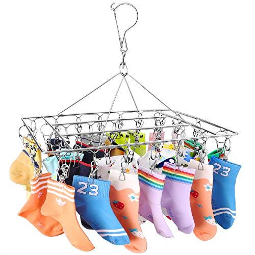Perchero de acero inoxidable para secado de calcetines, gancho giratorio resistente al viento, para calcetines, ropa interior, sujetadores, ropa de bebé, guantes (36 pinzas)