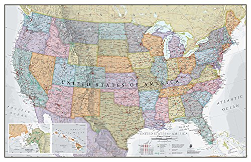 Maps International Classic USA Wall Map - Map of The USA Poster - Front Lamination – 24 x 36