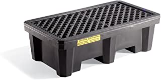 """New Pig Economy 2-Drum Poly Spill Containment Pallet Without Drain, 66-Gal Sump Capacity, 53"""" L x 28"""" W x 16"""" H, Black, PAK605-WOD"""