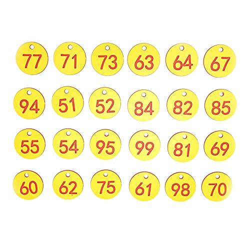 Cikonielf 50 Uds Etiqueta de Colmena Abs Etiquetas de señal numeradas Redondas con Agujero Accesorio para Ganado Rojo + Amarillo Adecuado para Apicultura cría de Animales