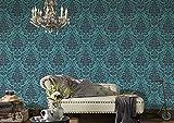 BEAUTIFUL WALLS Papel pintado barroco con adornos, neo, barroco, glamuroso, color azul y gris mate, brillante, estructurado 369105