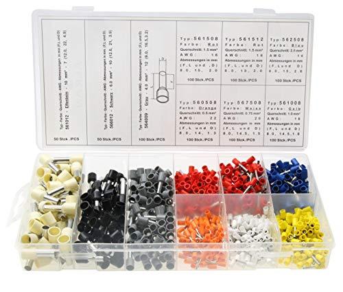 800 x Aderendhülsen-Sortiment - isoliert - Querschnitt 0,5 0,75, 1,0 1,5 2,5 4,0 6,0 10,0 mm² Länge 8-12mm - Farbe Orange, Weiss, Gelb, Rot, Blau, Schwarz, Grau und Elfenbein