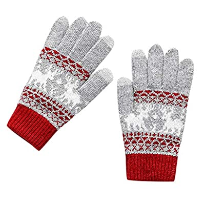 Winter Warm Knit Screentouch Gloves,Crytech Unisex Thermal Cartoon Knitted Full Finger Phone Touch Screen Gloves for Women Men Boy Girl Riding Cycling Ski Hand Warmer Mittens